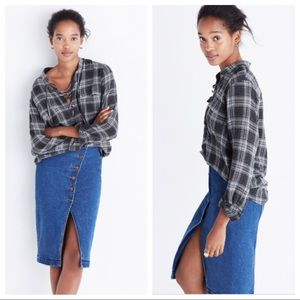 NWOT Madewell Terrace Lace Up Shirt In Owens Plaid